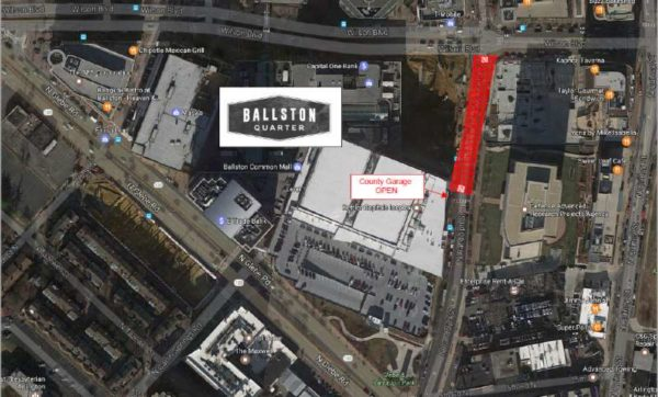 Ballston Quarter road closure (photo via Ballston BID)