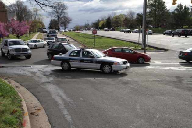 Police set up a diversion for westbound traffic