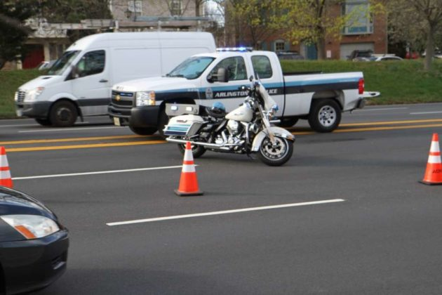 Police closed westbound Arlington Blvd from N. Henderson Road to N. Park Drive
