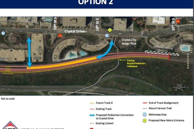 Option 2 would place the 700-foot platform south of the water park (image via VRE)