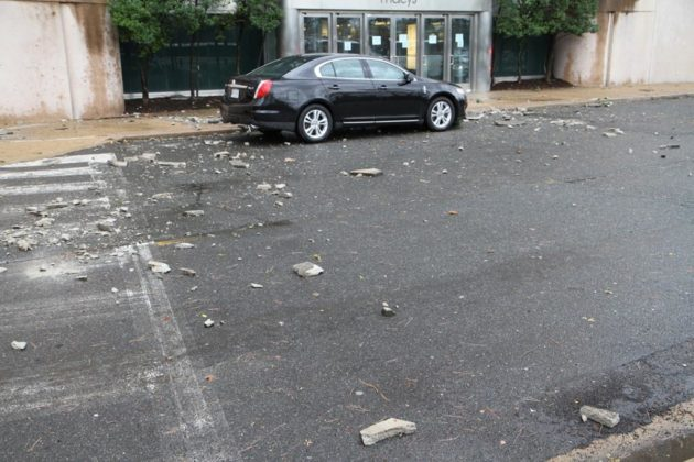 Storm damage to Macy's in Pentagon City and damage to car