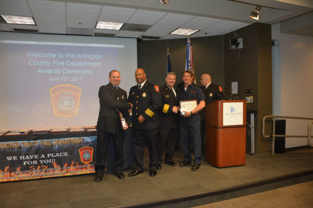 Medal of Valor-Silver award recipients firefighter/EMT Jason Updyke (l) and Lt. Fred Kawatsky (r)