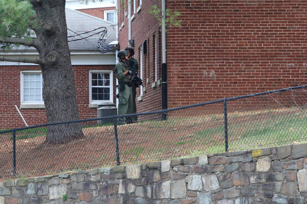 SWAT team members remained on scene