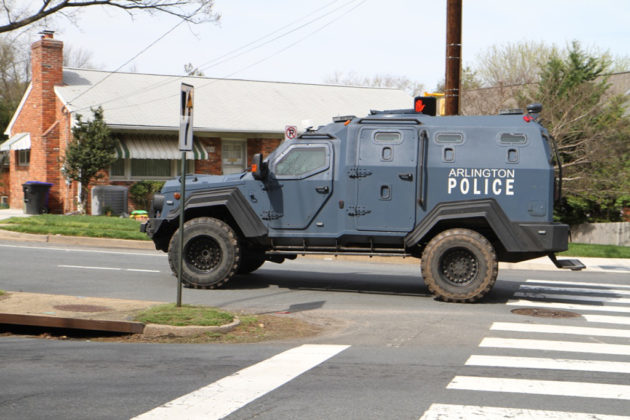 The police department's armored vehicle was on scene, but left around 3:15 p.m.