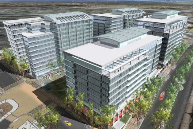 The four buildings set for Potomac Yard Land Bay C (image via DCS Designs)