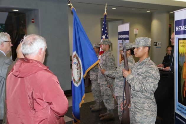 The Junior Air Force ROTC at Arlington Career Center presented the colors