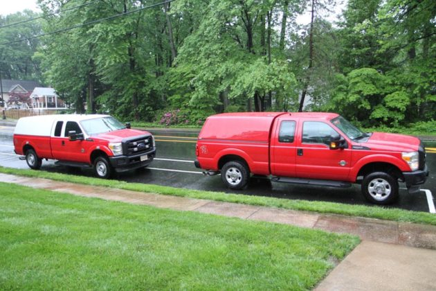 Fire Marshall's Office vehicles at Kingdom Hall arson investigation