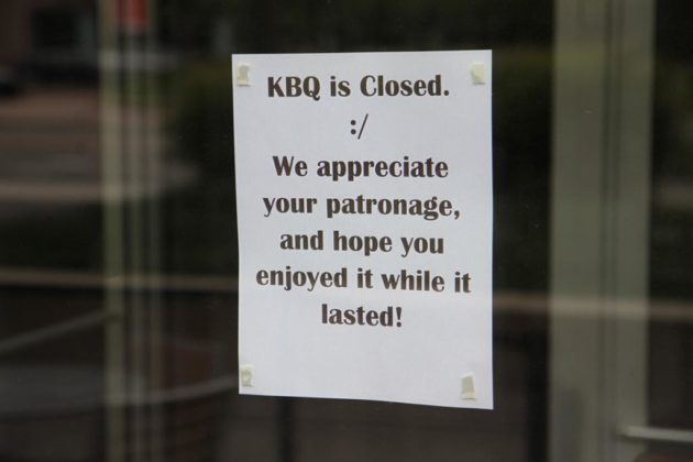The sign on KBQ's front door