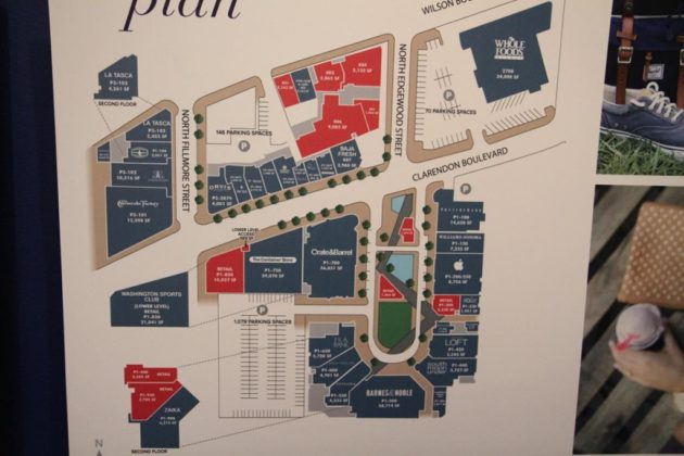 The plan for Market Common includes new office and retail space (in pink)
