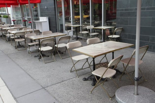 The outdoor seating at Sugar Factory