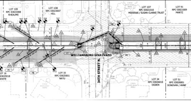Planned Green Streets improvements for Williamsburg Blvd