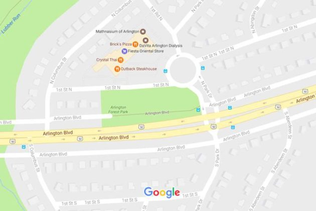 Work would be carried out at the intersection of Route 50 and Park Drive (via Google Maps)