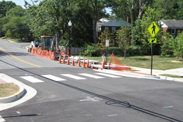 A crosswalk helps link the school and trail across N. Manchester Street