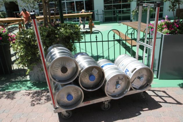 On Thursday, workers were putting the finishing touches on the space and moving in the beer barrels