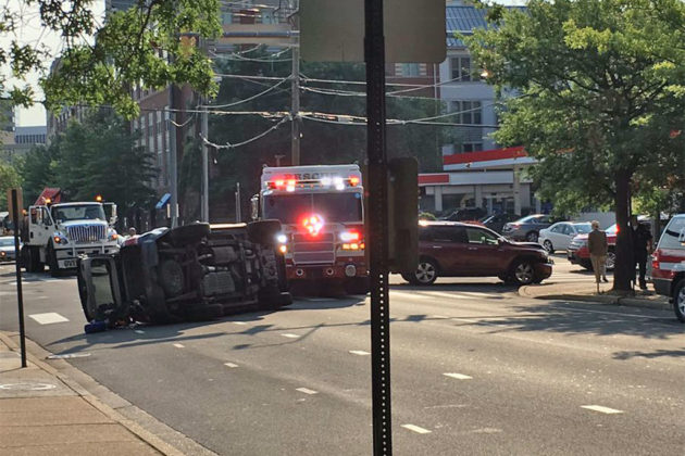 The SUV overturned at Wilson Blvd and N. Rhodes Street (Photo courtesy @rickolivieri)