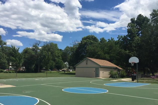 The basketball court at Madison Manor Park