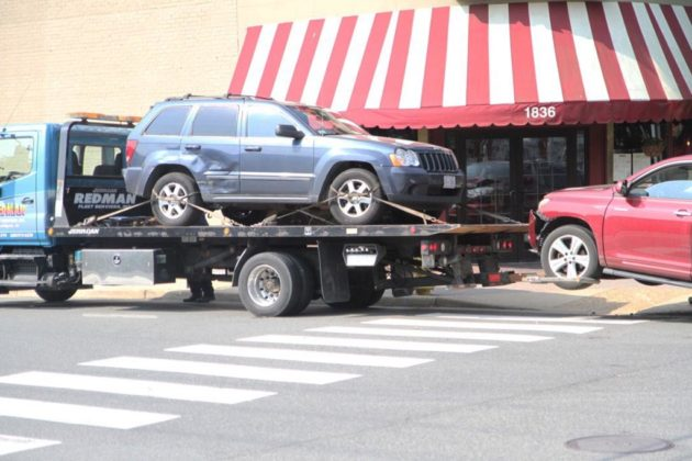 As of 9:30 a.m., both cars were loaded onto a tow truck