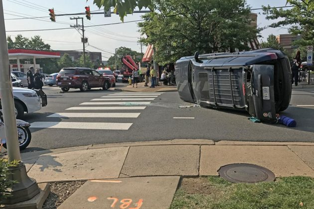 A flipped SUV closed roads in Rosslyn this morning (courtesy Guillermo Castillo)