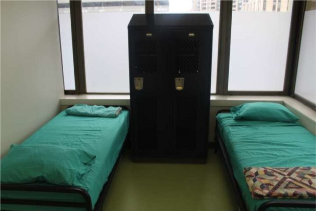 Beds at the center.