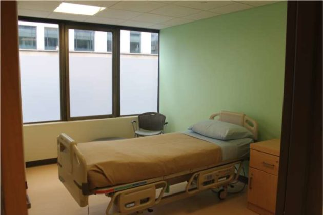 A medical respite room at the center.