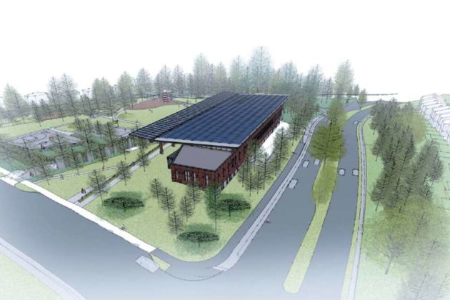 The proposed Lubber Run Community Center from the northeast