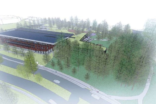 The proposed Lubber Run Community Center from the northwest