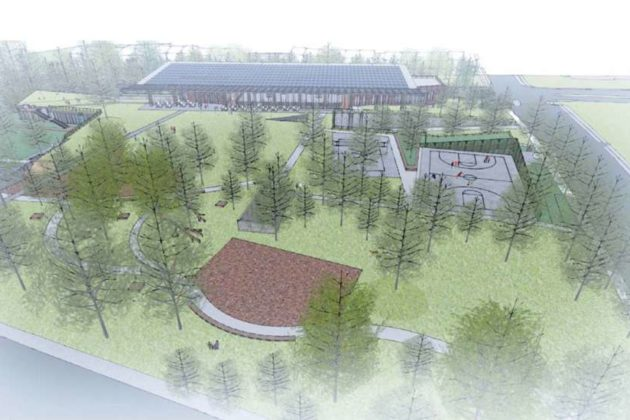 The proposed Lubber Run Community Center from the south