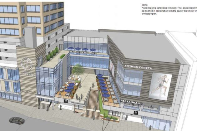 A view from the air of the proposed plaza at the Rosslyn Metro Center