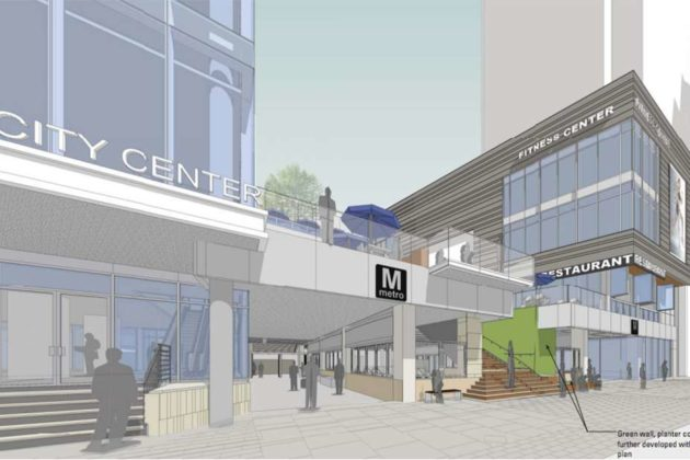 The plaza would be near the entrance to the Rosslyn Metro station