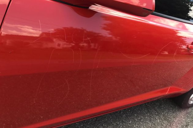 Racially-charged vandalism to car in Barcroft neighborhood (photo courtesy Evie Bernard)