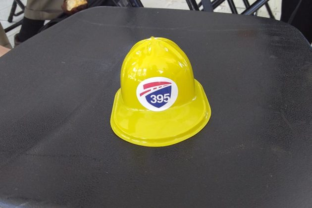 Breakfast was served in miniature construction hats