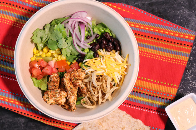 Students build their own lunch in a four-step process with fresh ingredients (courtesy photo)