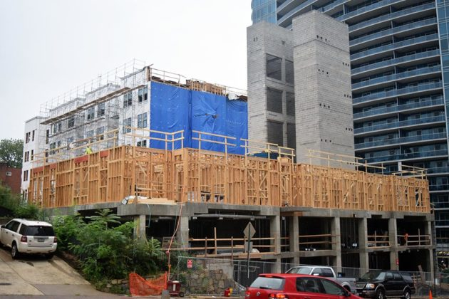 Construction on a condo building at Key Blvd and N. Nash Street is ongoing