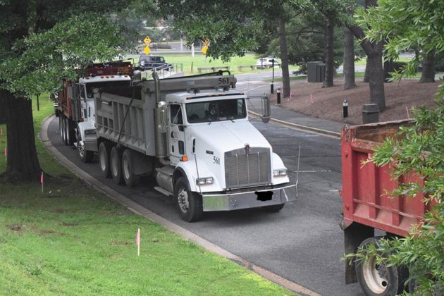 Crews moved in this morning to revamp the Iwo Jima Memorial