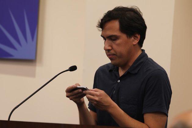 John Peck testifies before the School Board