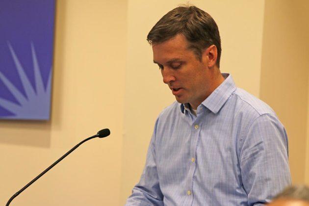 Ryan Sims testifies before the School Board
