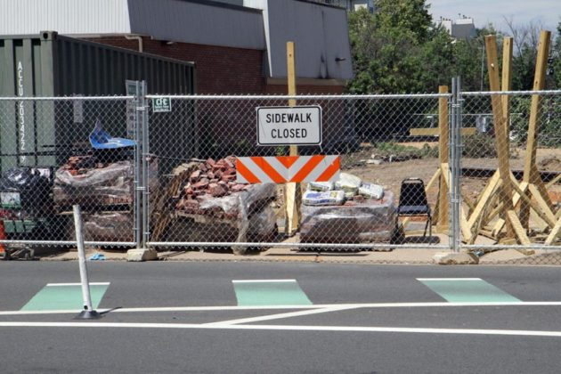 The sidewalk on that side of Wilson Blvd is also closed