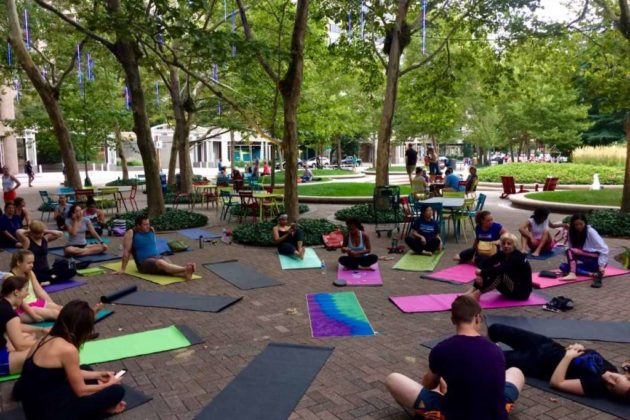 """The beginning of this past Sunday's """"Glow Yoga"""""""