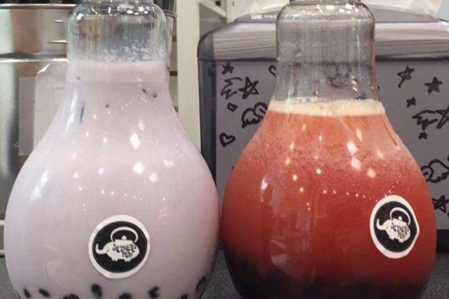 The bubble tea in lightbulb-shaped bottles at Kokee Tea.