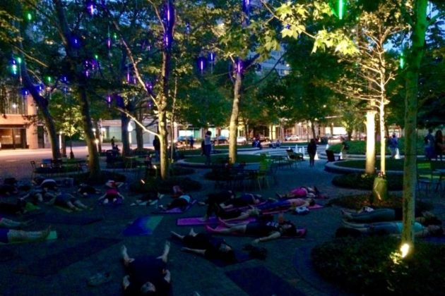 """""""Glow Yoga"""" is one of several themes for the Sunday night yoga classes"""