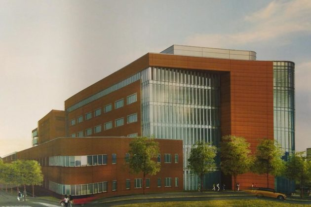 The outpatient center would have seven stories (image via county plans)