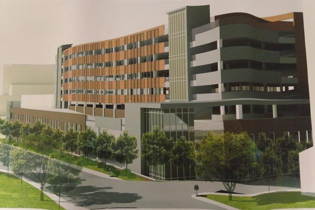 The parking garage would be 10 stories; two would be underground (image via county plans)