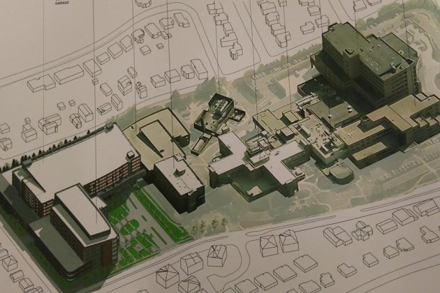 To the site, it would add an outpatient center and parking garage (image via county plans)