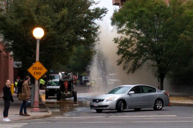 Water main break on N. Taylor Street in Ballston (courtesy @steadman_amanda)
