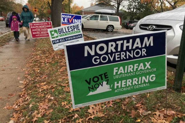 Candidate signs outside a polling station in Fairlington