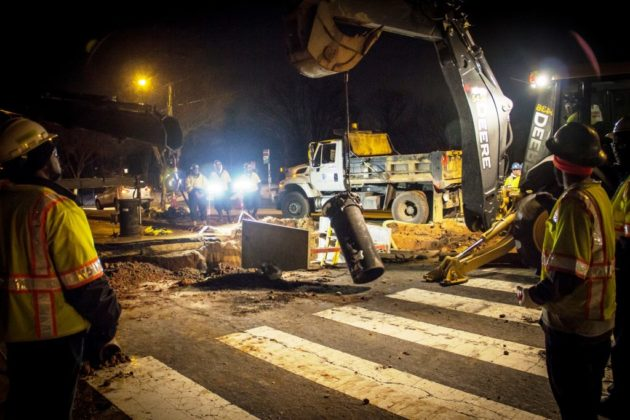 Crews repair a water main break (photo courtesy Arlington DES)