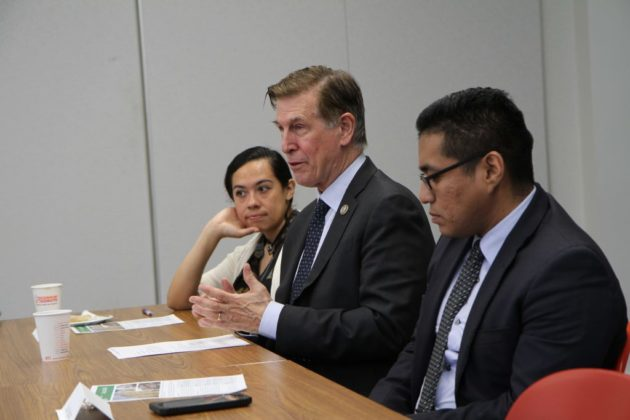 Rep. Don Beyer attends a Latino round table event in Arlington.