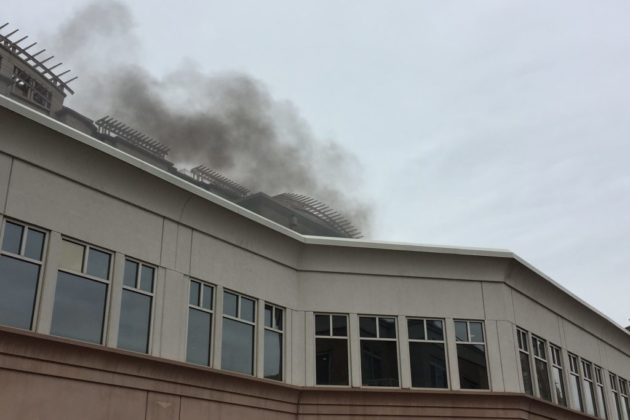 Smoke coming off of an AC unit fire in Ballston. Photo courtesy of Jacqueline Chow.