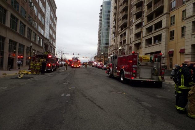 Firefighters responding to AC fire. Photo courtesy of Tim Russell.
