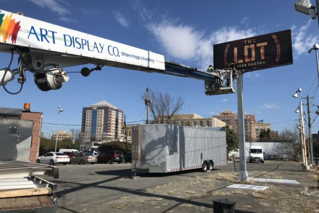 Signs up — and down — at The Lot beer garden in Clarendon